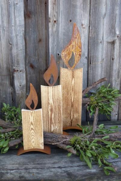 """Kerze aus Holz und Metall """"75 cm"""""""