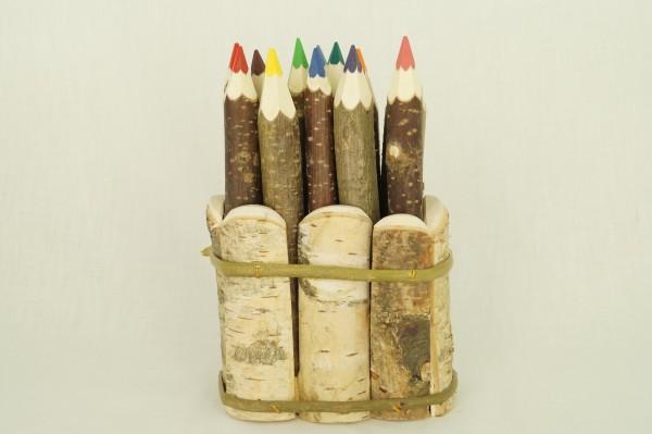 Buntstifte aus Holzzweigen 12er Set im Köcher